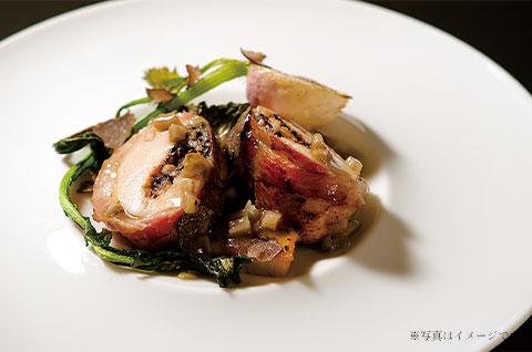 川俣軍鶏のロースト・黒米のファルシー